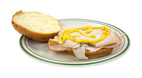 Turkey sandwich with mustard Royalty Free Stock Images