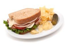 Turkey sandwich with potato chips Royalty Free Stock Photo
