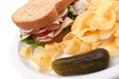 Turkey sandwich with potato chips Stock Image