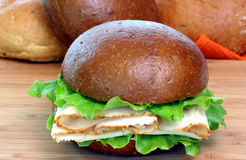 Turkey Sandwich on Roll Royalty Free Stock Images