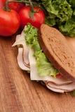 Turkey sandwich on rye. Delicious turkey breast sandwich on rye bread Stock Photography