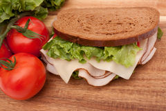 Turkey sandwich on rye Royalty Free Stock Images
