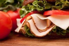 Turkey sandwich on rye Royalty Free Stock Image