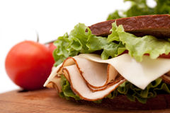 Turkey sandwich on rye bread Royalty Free Stock Photos