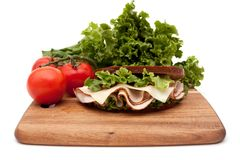 Turkey sandwich on rye bread Royalty Free Stock Image