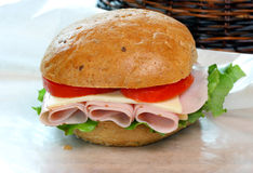 Turkey Sandwich on Rye Roll Royalty Free Stock Photo