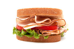 Turkey sandwich on wheat bread Stock Photography