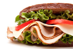 Turkey sandwich on white background Royalty Free Stock Image