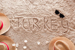 Turkey in a sandy tropical beach royalty free stock photography