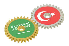 Turkey and Saudi Arabia relations concept, flags on a gears. 3D Stock Image