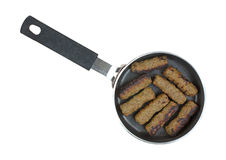 Turkey Sausages Browned Teflon Skillet Top Stock Images