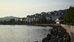 City harbor sea water shore and seagulls at sea. Turkey sea port of zonguldak eregli coastal cities and water seagulls stock video
