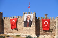 Turkey/Selçuk:  Atatürk Canvas with Flags Stock Image