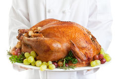 Turkey Served. Chef serving a stuffed turkey garnished with grapes Royalty Free Stock Photography