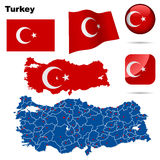 Turkey  set. Detailed country shape with region borders, flags and icons isolated on white background Stock Images