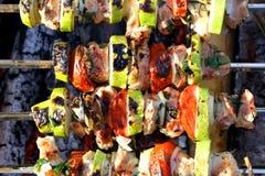 Turkey shashlik barbeque with vegetables Stock Photos