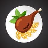 Turkey shin illustration. Dish plate  on black Stock Image