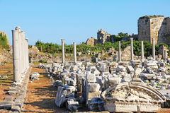 Turkey. Side. Antique ruins Royalty Free Stock Images