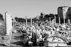 Turkey. Side. Antique ruins in black and white Stock Images