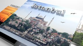 Turkey sightseeing in slideshow like set photos. And 3d text Stock Photography