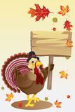 Turkey with a sign. A vector illustration of a turkey carrying a blank sign Royalty Free Stock Photos