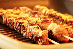 Turkey skewers on the grill close-up Stock Image