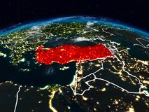 Turkey at night. Turkey from space at night on Earth with visible country borders. 3D illustration. Elements of this image furnished by NASA royalty free stock photo