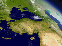 Turkey from space. Turkey with surrounding region as seen from Earth's orbit in space. 3D illustration with highly detailed realistic planet surface and clouds Royalty Free Stock Photos