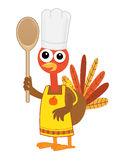 Turkey With Spoon. Cartoon turkey with chef hat, apron and a spoon. Eps10 Stock Photography
