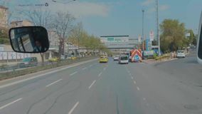 Turkey. Stanbul August 2019 bus Ride. View from the bus Airport city. Route. Overtake cars.  stock video footage