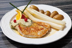 Turkey steak with asparagus,herb butter and potatoes Royalty Free Stock Image