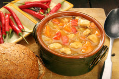 Turkey stew with hot chilli in bowl Royalty Free Stock Photo