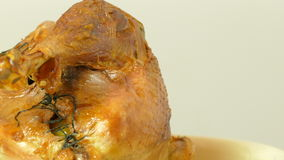 The turkey stuffed with apples, baked in the oven stock video footage