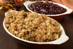 Turkey stuffing and cranberry sauce Stock Image