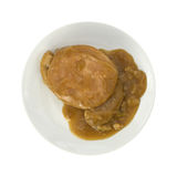 Turkey with stuffing and gravy on a white plate Stock Image