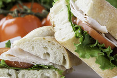 Turkey sub sandwich. Close up of a cut turkey sub with tomato, lettuce and cheese Royalty Free Stock Photos