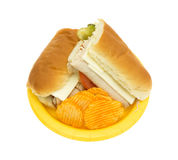 Turkey sub sandwich with chips Royalty Free Stock Images