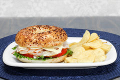 Turkey, Swiss Cheese, Tomato and Lettuce Sandwich  Stock Images