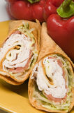 Turkey and swiss wrap sandwich Stock Photography