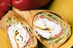 Turkey and swiss wrap sandwich Royalty Free Stock Photo