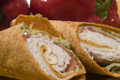 Turkey and swiss wrap sandwich Royalty Free Stock Image