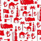 Turkey symbols seamless pattern.. Turkish national ornament. State traditional background. Map and flag of country. Turk and Turkish lira sign. Camels and palm Stock Photo