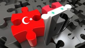 Turkey and Syria flags on puzzle pieces. Political relationship. Concept. 3D rendering Stock Images