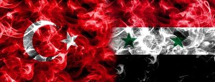 Turkey and Syria smoke flag Stock Image