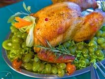 Turkey on table. Garnished turkey on green table stock photos