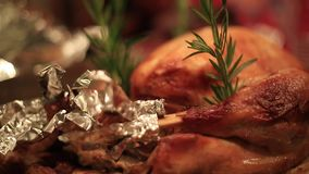 Turkey on a table before meal stock footage