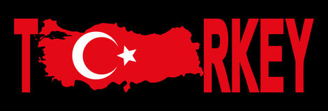 Turkey text with map Royalty Free Stock Photo