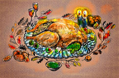 Turkey on Thanksgiving. Illustration on canvas texture vector illustration