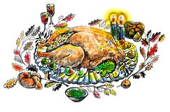 Turkey on Thanksgiving. Illustration on canvas texture royalty free illustration