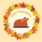 Turkey for thanksgiving day and autumn leaves, vector  Royalty Free Stock Images
